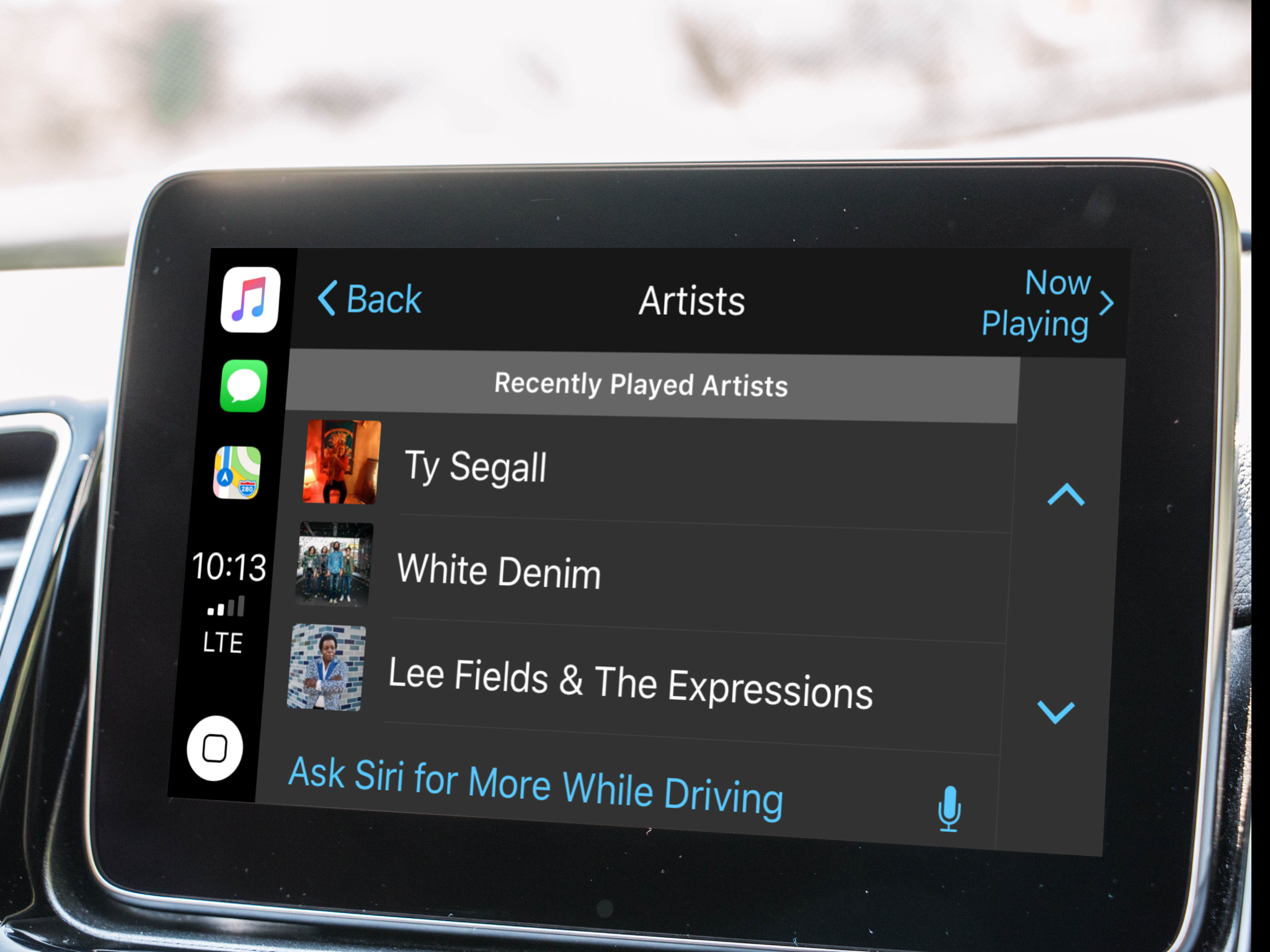 Limited music list with Siri button